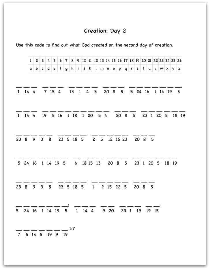 Printables Free Bible Worksheets bible worksheet bloggakuten creation day 2 verse decoding worksheet