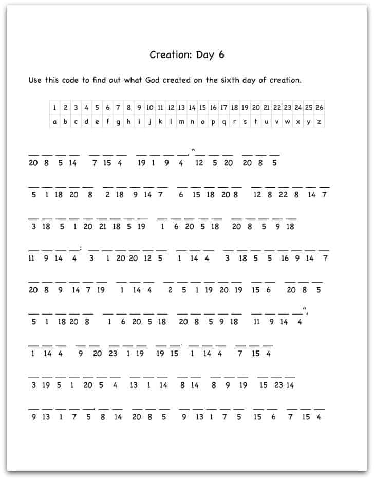 Worksheet Sunday School Worksheets creation day 6 bible verse decoding worksheet
