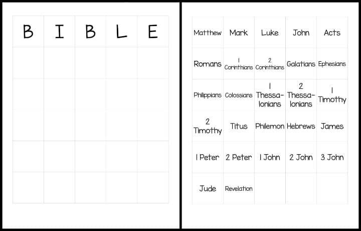 New Testament Bible Books Bingo
