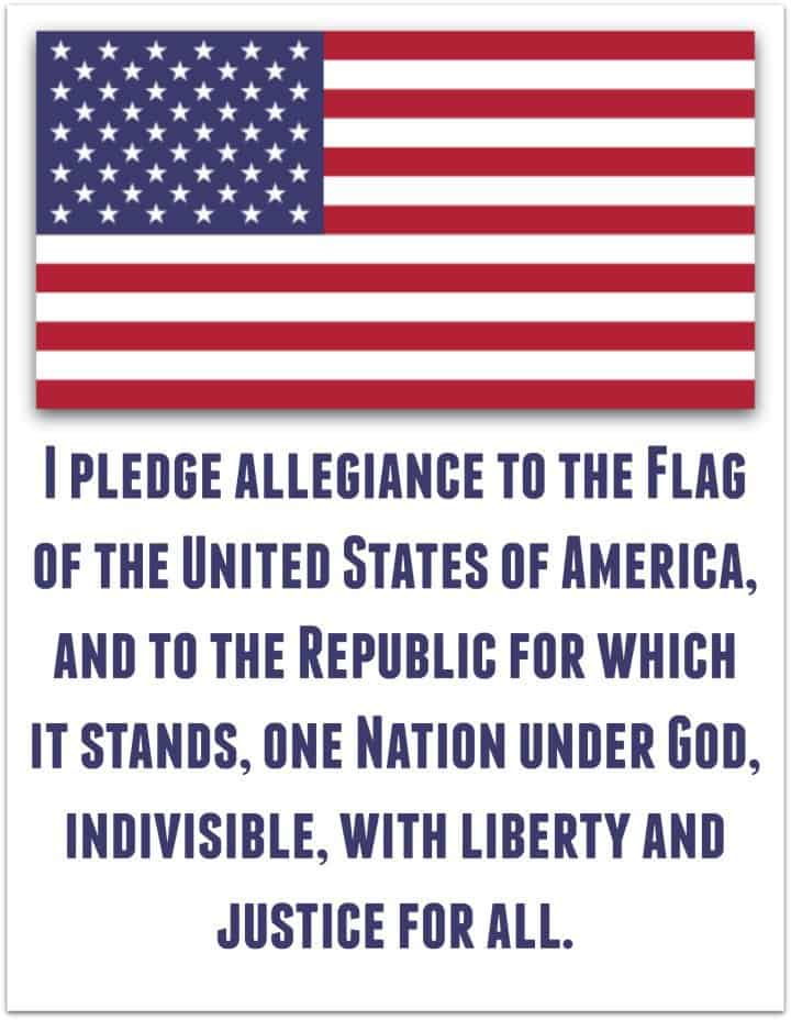 Pledge of Allegiance - American Flag  Printable