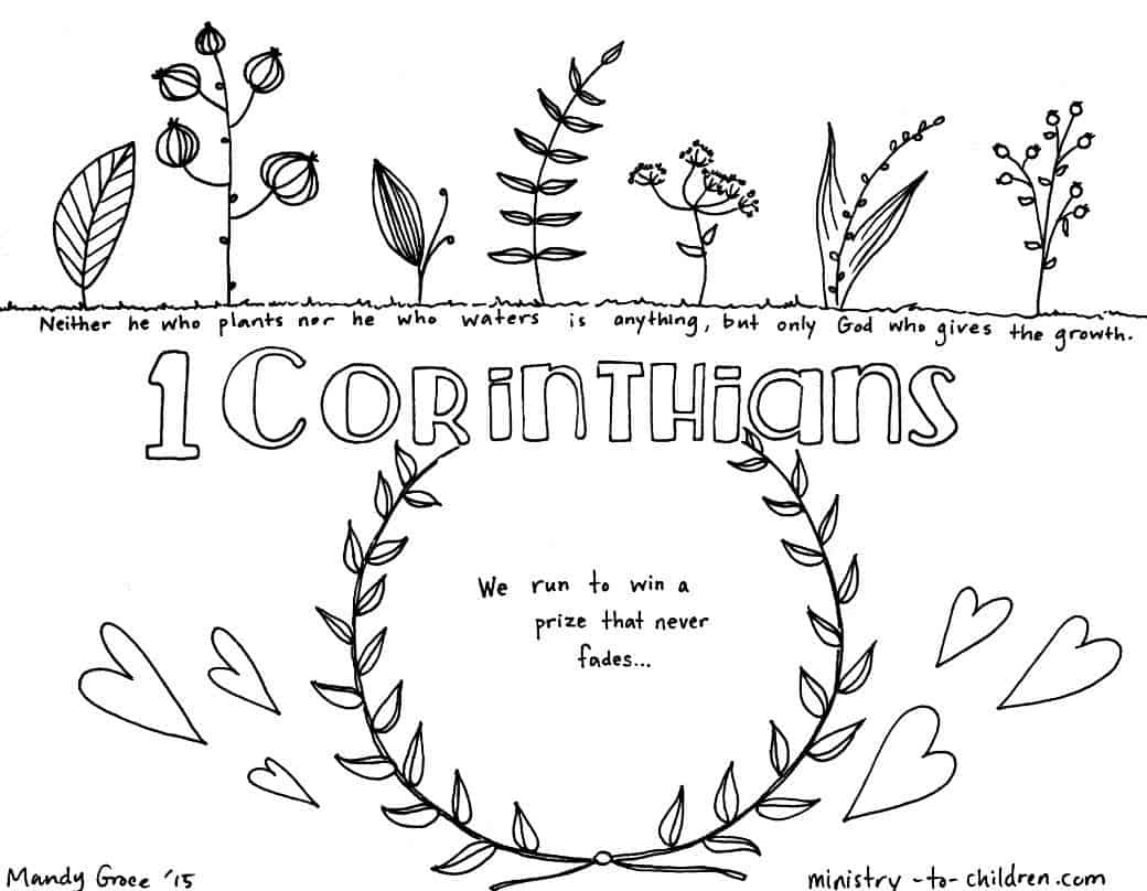 Free coloring pages for toddlers from the bible -  1 Corinthians Bible Book Coloring Page