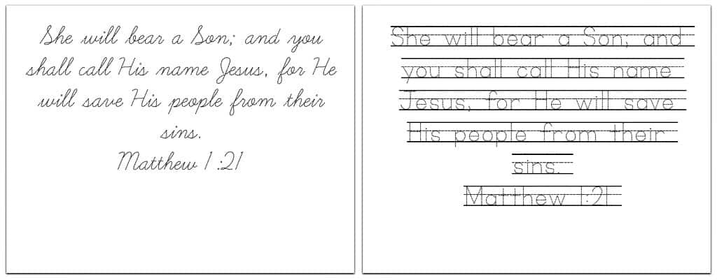 Printable Handwriting Practice Sheets with 8 Christmas Bible Verses – Handwriting Practice Worksheets
