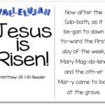 Printable Resurrection Story (Part 7 of 7) Jesus is Risen (Matthew 28:1-10)