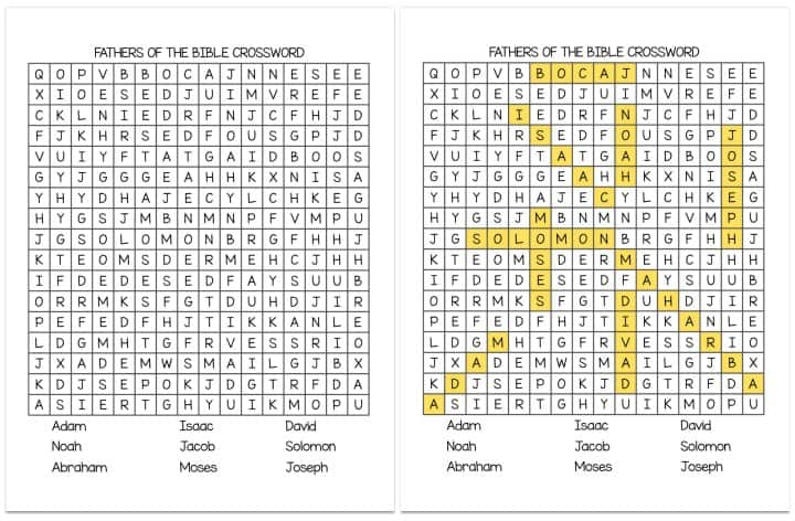 """""""Fathers in the Bible"""" Word Search Crossword"""