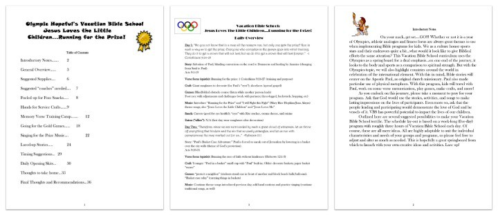 "FREE ""Running for the Prize"" Olympics Themed VBS Curriculum"