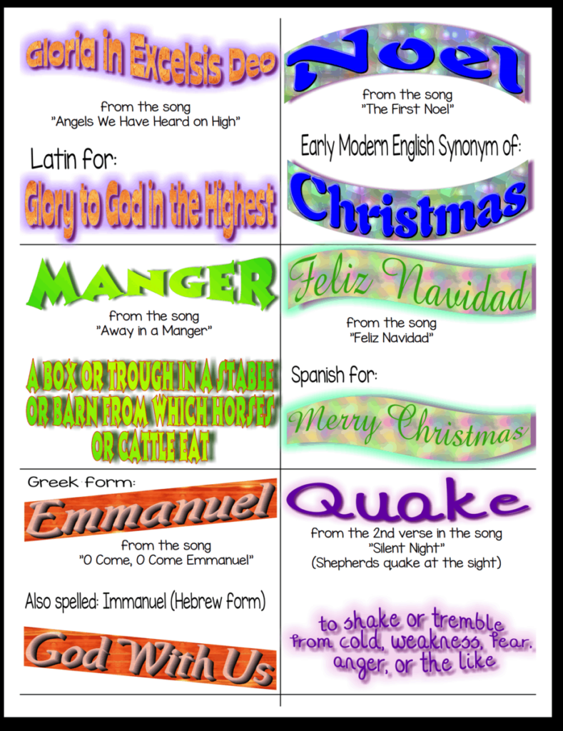 Christian Songs Vocabulary for Kids