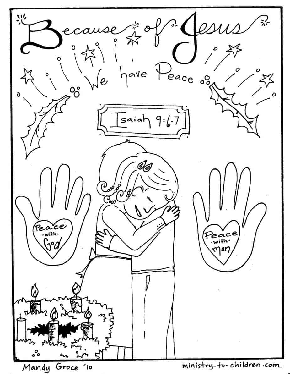 "Christian Christmas Coloring Pages ""Jesus brings Peace"""