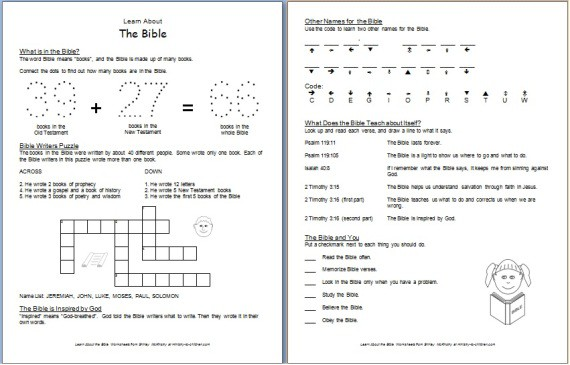 "Number Names Worksheets free activity sheets for kids : Learn about the BIble"" Free Printable Worksheets for Kids"
